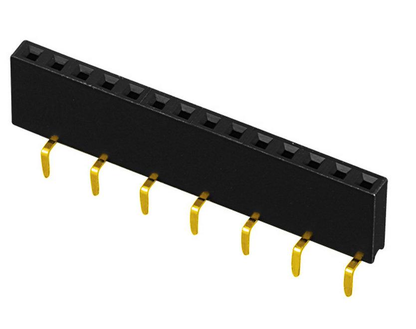 PH2.54mm H=5.0mm Female Header, U-type Single Row Centipede Feet Type