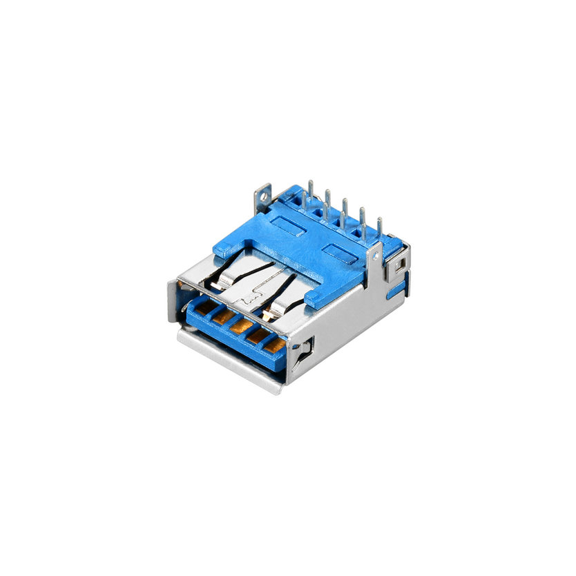 USB 3.0 A-type, Female, Right Angle DIP, Straight Feet Type, Roll Edge, I/O Connector