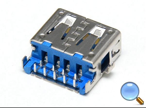 USB 3.0 A-type, Female, Sinking Board Type, CL-0.65mm L= 14.42mm,L75165-1X0XC  , I/O Connector