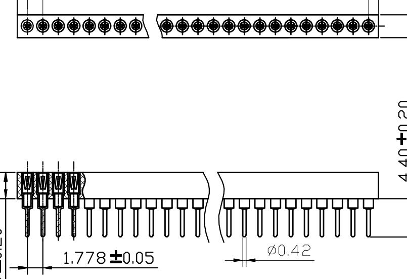 PH1.778mm-L IC Socket H=3.0 Single row Straight Type