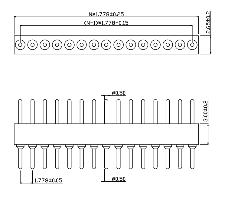 PH1.778mm-L Machined Male Header H=3.0 Single row 180°Type